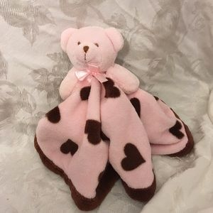 Baby gear pink and brown lovey with bear